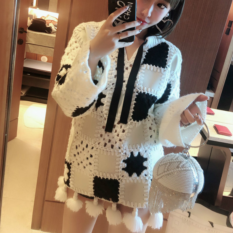 Knitted Sweater Pullovers Jumpers Black Hollowed-Out Autumn Winter Tassel White And Square