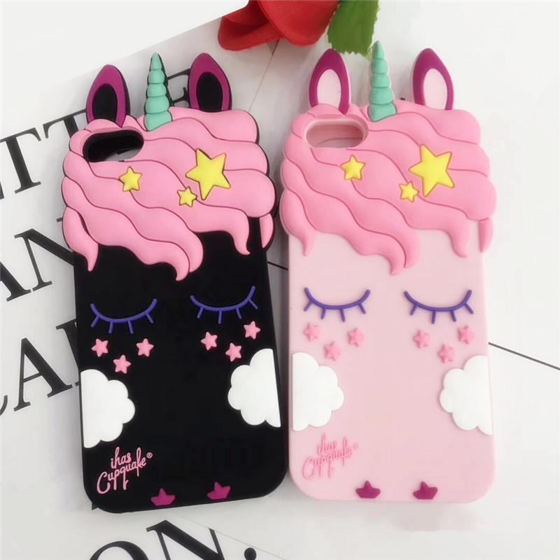 3D Cute Rubber Cat minnie rabbite unicorn Case For iPhone 5s 5C 7 6 6S Plus Soft Silicon Cartoon Cover For iPhone X 8 6S 5S Capa