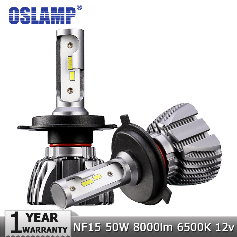 Oslamp H4 Hi-Lo Beam H7 H11 H1 H3 9005 9006 LED Car Headlight Bulbs 50W 8000lm CSP Chips 12v 24v Auto Headlamp Led Light Bulb ironwalls 2pcs set car headlight cree csp chips 72w hi low beam led driving light auto front fog light for audi toyota honda