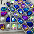Mix AB Colors Teardrop Pointback Rhinestone Glass Crystals No Holes for Cloths Dresses DIY Decorations 10x14,13x18,18x25,20x30mm