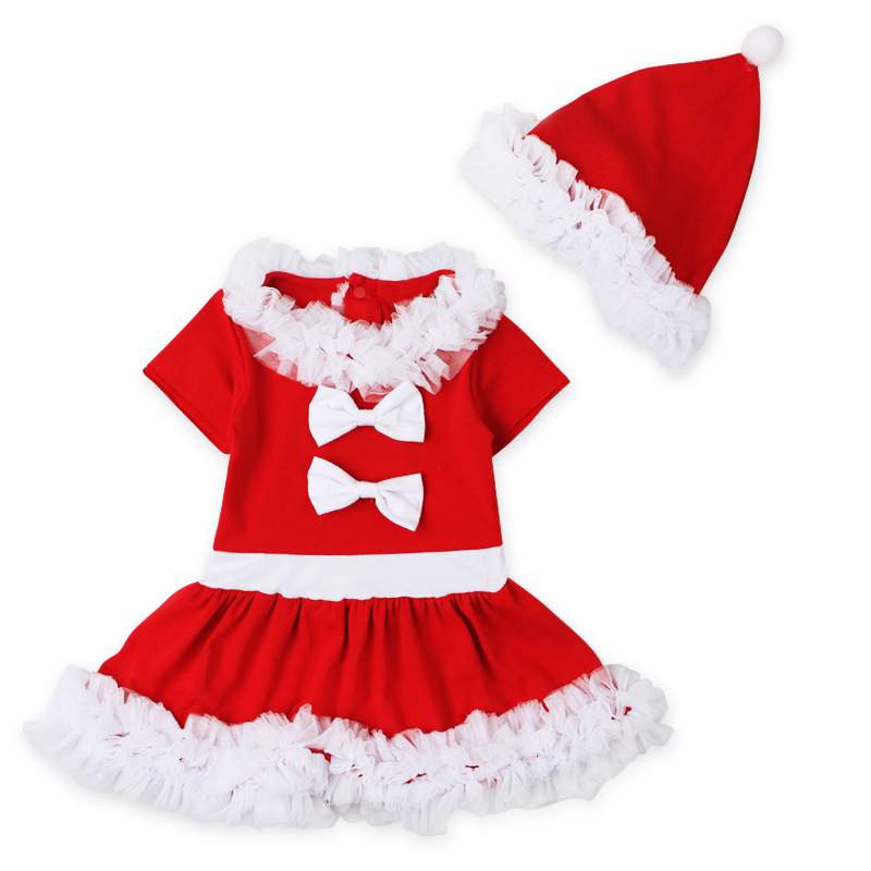Christmas Grils Dress Sets Baby Girl Xmas Red Dress+Cap 2pcs Ruffles Outfits Gifts For Girls Bow Decor Kids Clothes Set