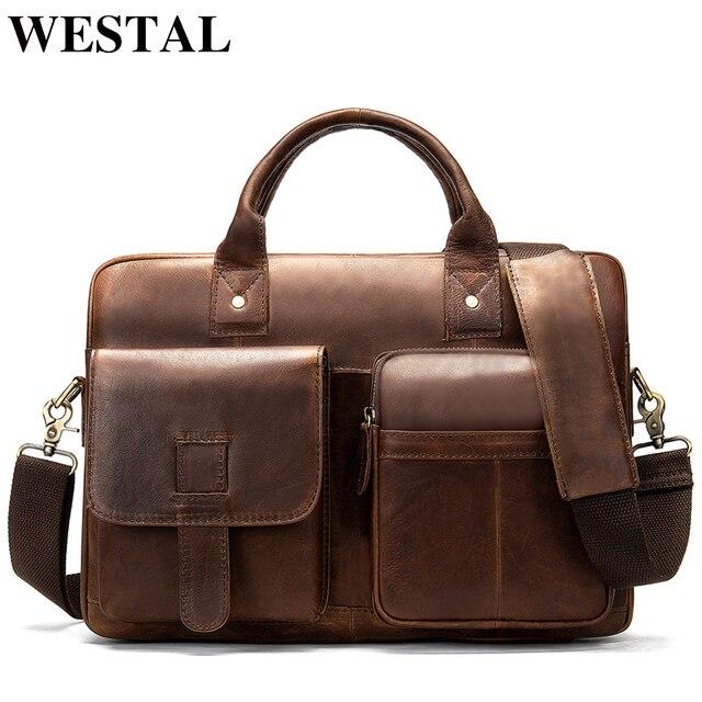 WESTAL Saco Do Mensageiro dos homens laptop pasta de Couro para os homens De Couro Genuíno bolsa de Ombro sacos Crossbody sacos de moda masculina 8503