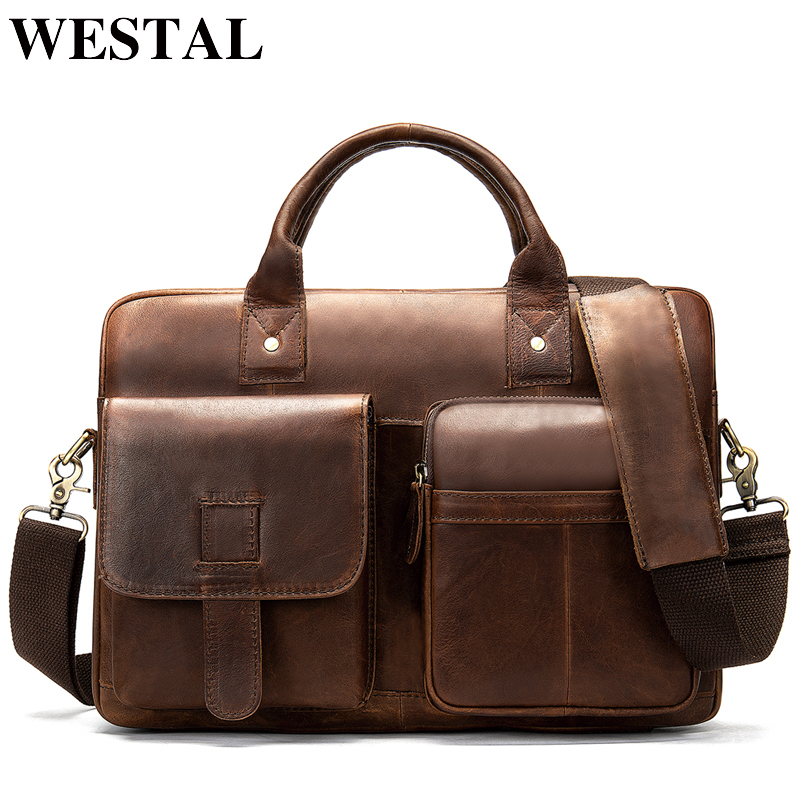 WESTAL Men's Briefcase Bag Men's Genuine Leather Laptop Bag Office Bags For Men Business Porte Document Briefcase Handbag  8503