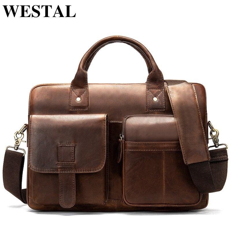 WESTAL sac porte-documents pour hommes pochette d'ordinateur en cuir véritable sacs de bureau pour hommes porte-documents d'affaires sac à main 8503