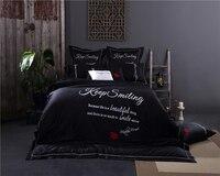 black bedding king size egyptian bedding cotton luxury embroidered duvet cover Korean bedding set couple satin bedlinen percale