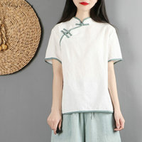 traditional chinese tops Short Sleeve cheongsam top traditional Chinese Top Oriental Female Blouse G157
