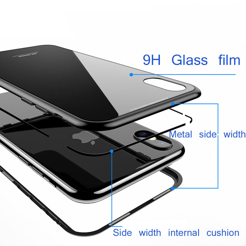 Suntaiho Magneto Magnetic Adsorption Case For iPhone 7 plus Metal Bumper + 9H Tempered Glass Case For iPhone X 8 Phone Cases