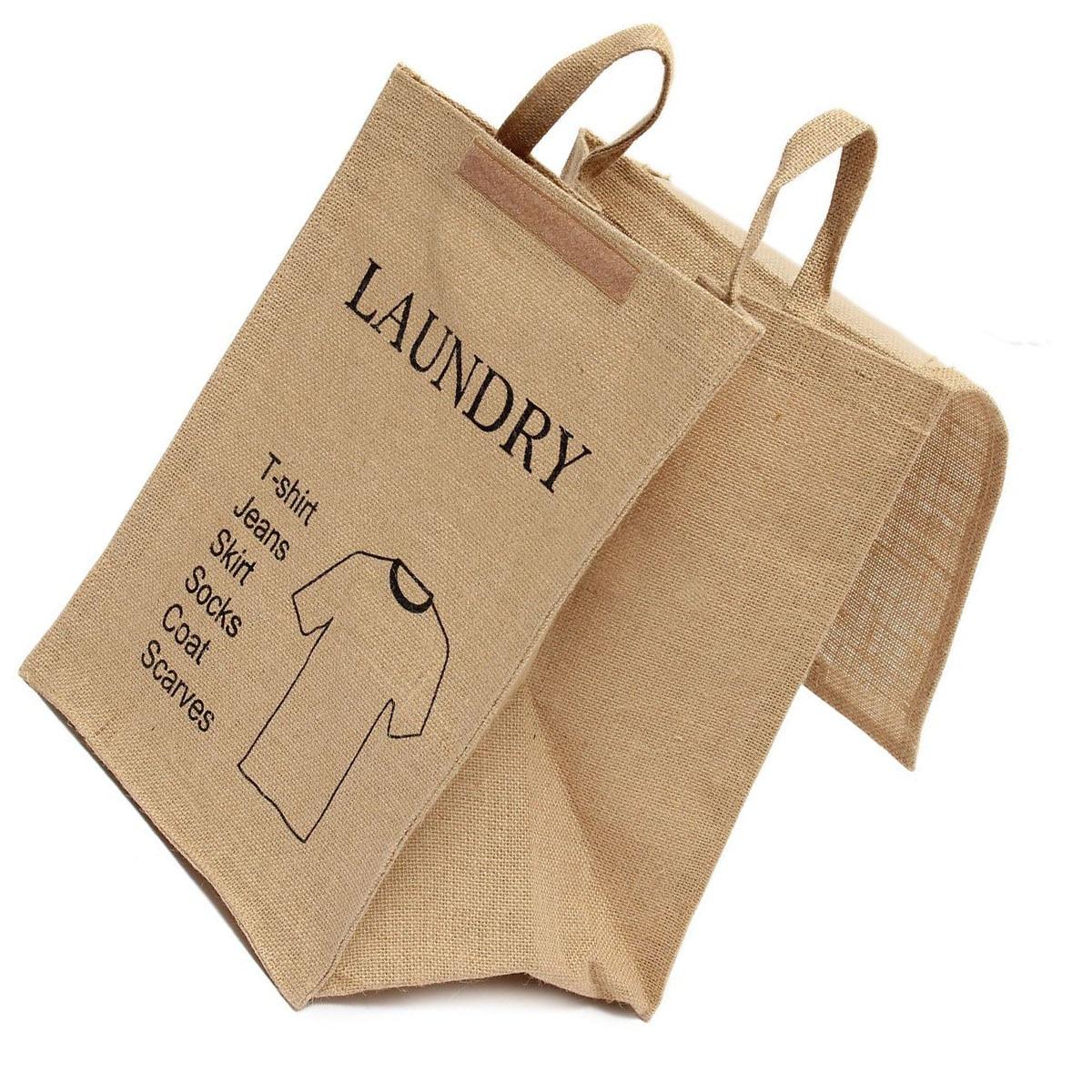 Large Cotton Linen Folding Laundry Washing Clothe Basket Bag Bin Storage Hamper(Man T-Shirt Pattern)