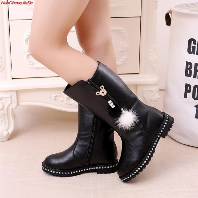 New Thick Winter Kids Combat Boots Girls Boys Plush Boots Girls Autumn High Boots Children Winter Snow Shoes Size 27-37