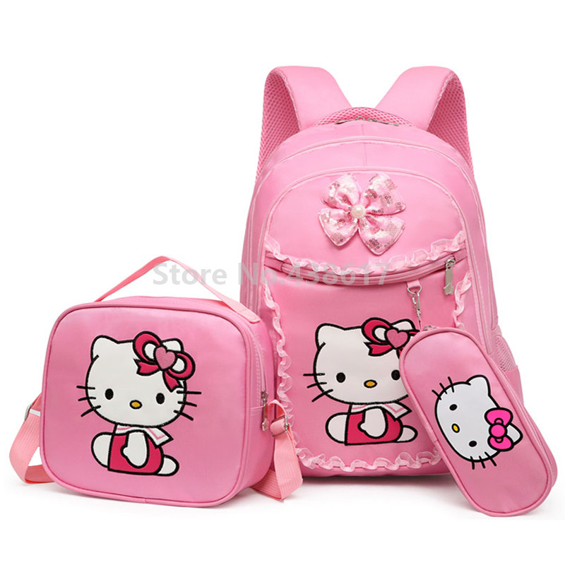 Pink My Melody Kitten Cat Girls Backpack School Bag With Lunch and Pencil Case Set 3