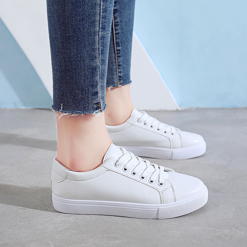 2019 New Women Casual Shoes Breathable Pu Leather Vulcanize Female Fashion Summer Sneakers Lace Up Soft White Leisure Footwears