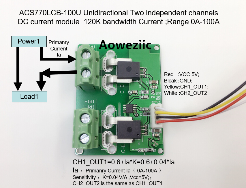 Aoweziic ACS770LCB-100U ACS770LCB ACS770 Unidirectional Two independent channels DC current detection module Rang:0A-100AcAoweziic ACS770LCB-100U ACS770LCB ACS770 Unidirectional Two independent channels DC current detection module Rang:0A-100Ac