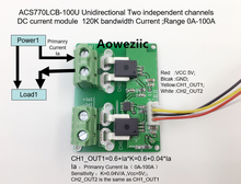 Aoweziic ACS770LCB-100U ACS770LCB ACS770 Unidirectional Two independent channels DC current detection module Rang:0A-100Ac