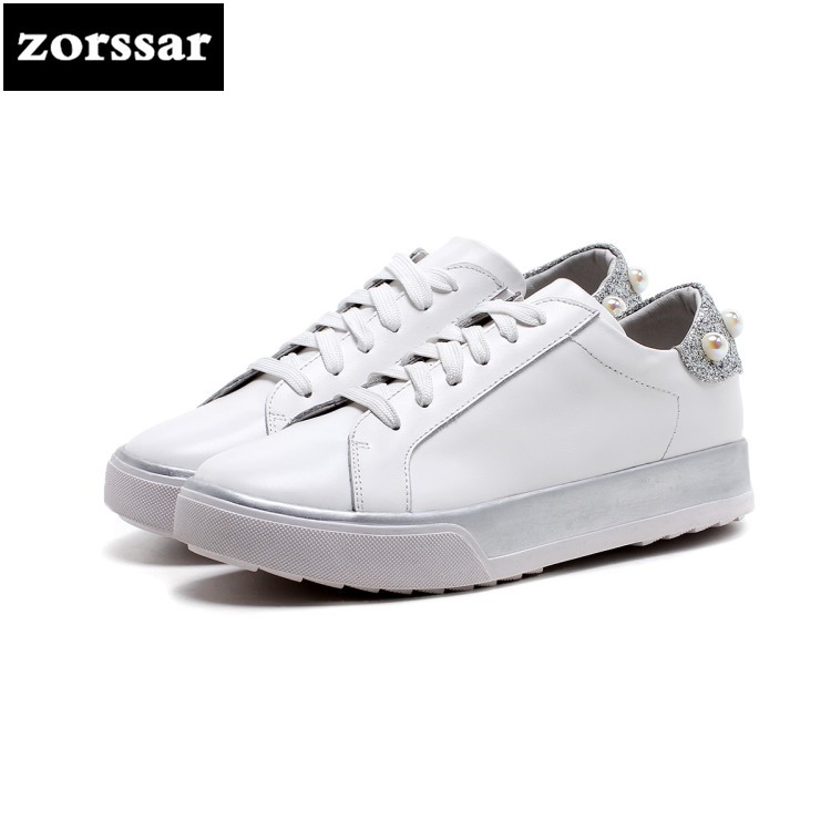 {Zorssar}2018 Genuine Leather Female shoes Casual flats Shoes Comfortable Flat platform shoes Fashion Pearl women sneakers shoes minika new arrival 2017 casual shoes women multicolor optional comfortable women flat shoes fashion patchwork platform shoes