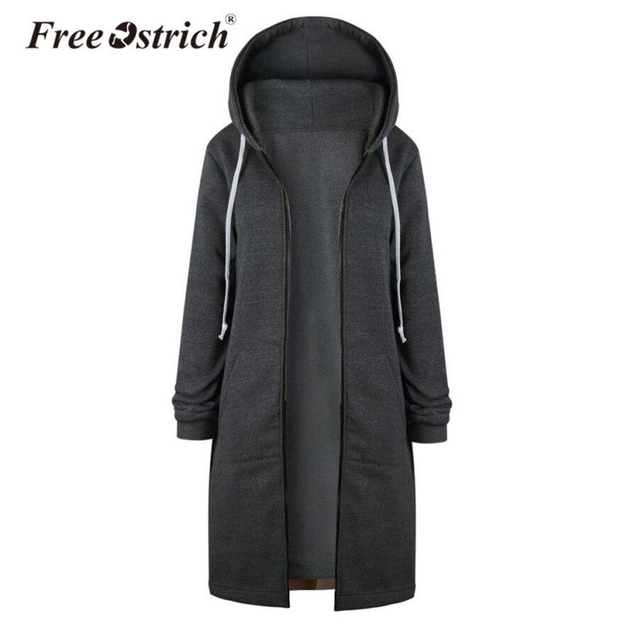 Бесплатная страуса Толстовка Для женщин теплая молнии длинное пальто Топы, куртки и пиджаки толстовки с капюшоном Sudadera Mujer L1825 ...