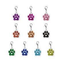 Porte-clé avec motif de patte de chien et chat en émail, breloques pendantes, fermoir mousqueton rotatif, LH486, 10 pièces