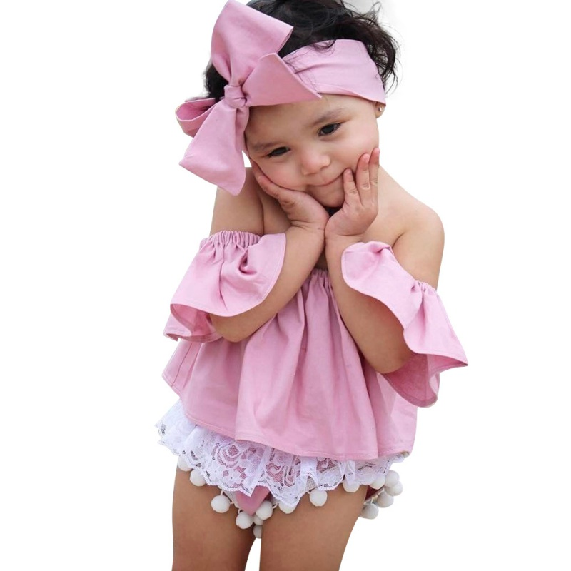 2017 Cute Summer Clothing Kids Baby Girls Off Shoulder T shirt Tops Bowknot Headband Set Clothes