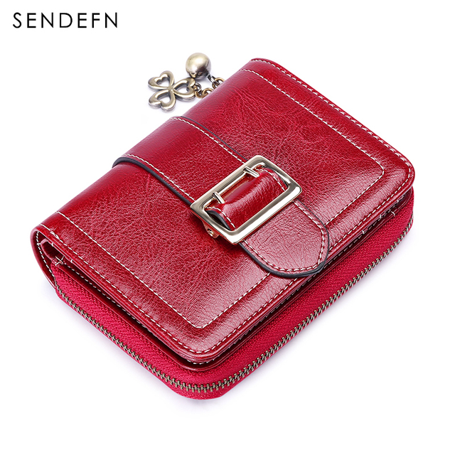 Sendefn Patent Metal Flower Wallet Small Oil Wax Leather Purse Coin Pocket Leather Wallet Female Short portefeuille 5193-68