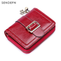 Sendefn Patent Metal Flower Wallet Small Oil Wax Leather Purse Coin Pocket Leather Wallet Female Short portefeuille 5193 68