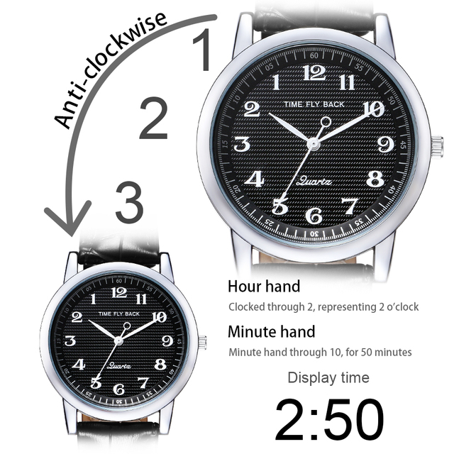Men's Counterclockwise Watch Student Watch Stylish Vintage Quartz Waterproof Black Dial Watch Leather Strap Time Fly Back