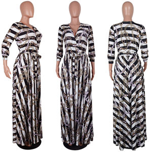34e24f3985f8f US $20.65 41% OFF|Adogirl Trendy Striped Chain Print Women Maxi Dress Sexy  Deep V Neck Long Sleeve Belts Slim Casual Dresses High Quality Vestidos-in  ...