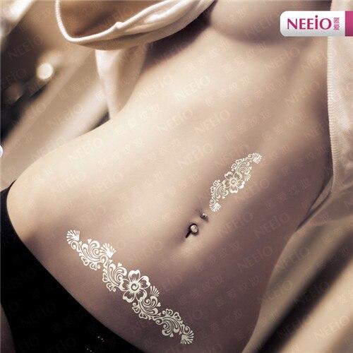 Ani186 Neeio Temporary Tattoo Sexy Art White Flash Glitter Flowers