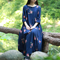 2016 New Women Floral Gown Ethnic Robe Long Sleeve Slub Cotton Dresses Embroidery Bud Dress Vestido Longo Jurken Elbise