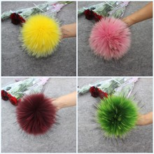 4pcs/lot New Color DIY Natural Real Raccoon Fur Pompoms Fluffy Genuine Pom pom for Winter Hat Beanies Knitted Cap Skullies