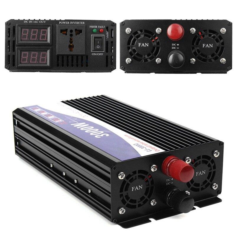 3000 W De Voiture Véhicule Onduleur Onde sinusoïdale Pure 12 V DC à 220 V AC Émetteur Transformateur Alimentation onduleur