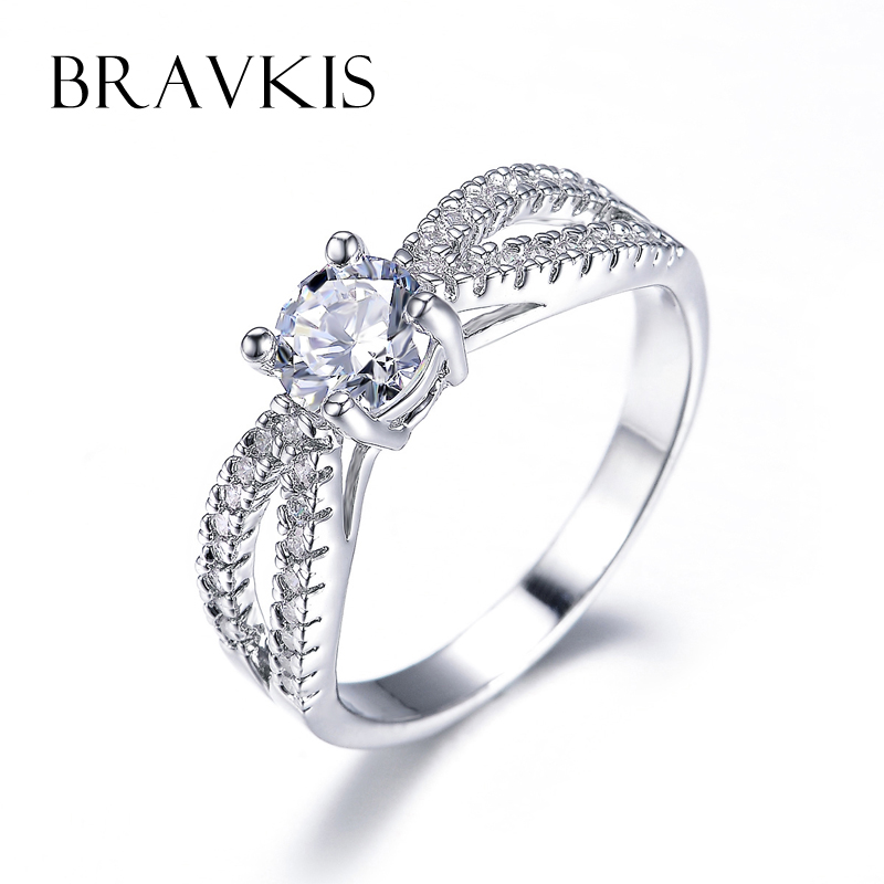bravkis crystal infinity ring band cathedral rings cz engagement solitaire ring split wedding bands women alliance