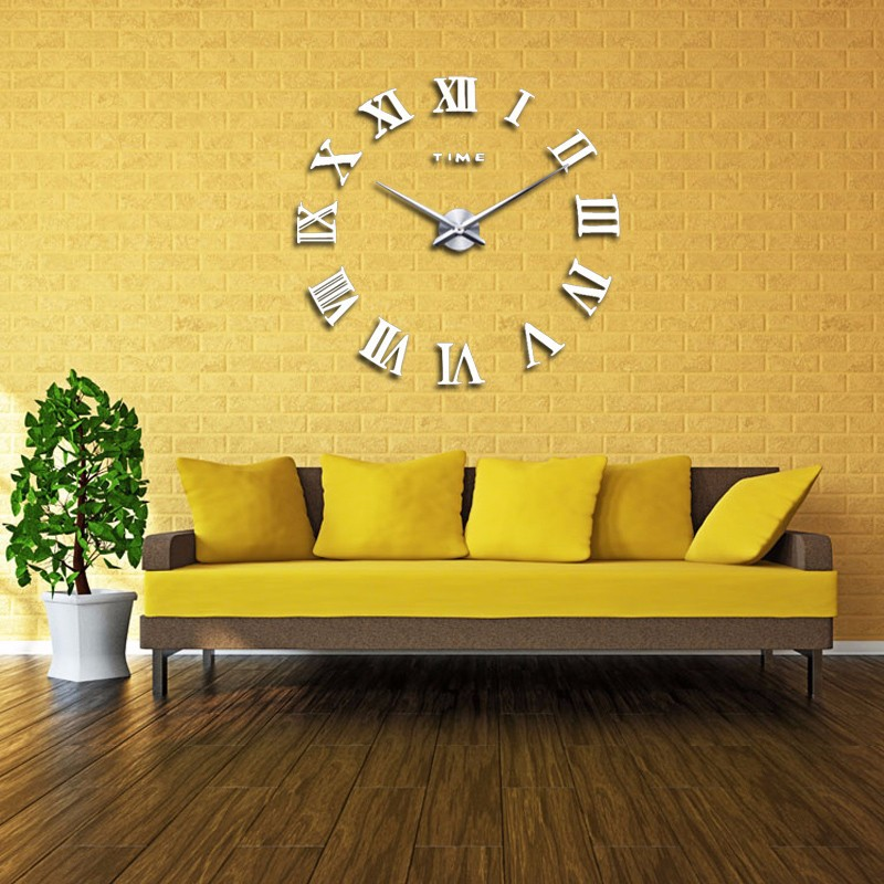 promotion 16 new home decor large roman mirror fashion modern Quartz clocks living room diy wall clock watch free shipping 6