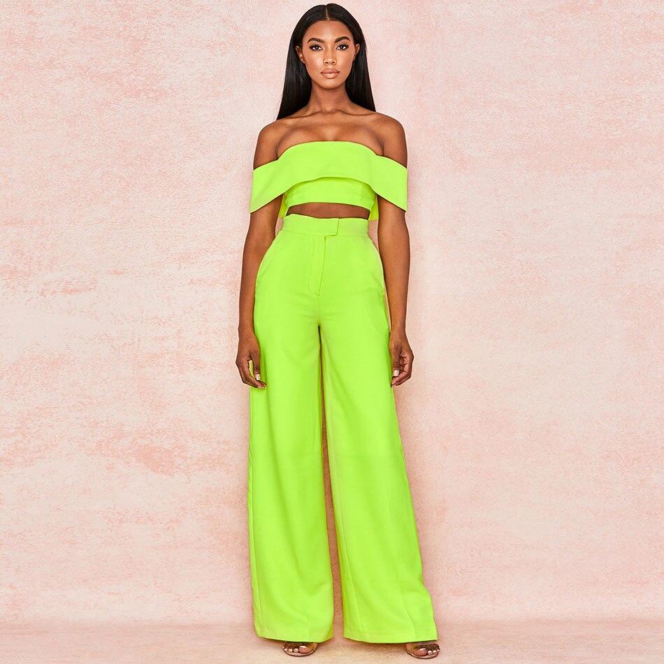 Nouveauté femmes 2 pièces ensemble vert à manches courtes hors de l'épaule hauts & pleine longueur pantalon ensemble Sexy boîte de nuit femmes survêtement