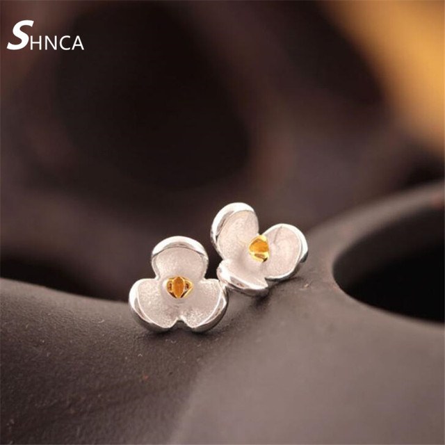 Sterling Silver stud earrings with real roses SzXmPNcNY
