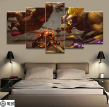 5 Panel LOL League of Legends Gnar / Warwick Game Canvas Printed Painting Living Room Wall Art Decor HD Picture Artworks Poster