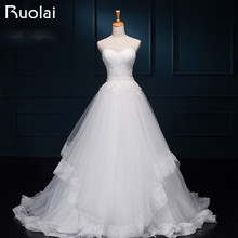 Real Wedding Dress Charming Sweetheart Applique Crystal  Beaded Waist Tulle Tiered Bridal Gown Long Wedding Dresses 2017 FW55