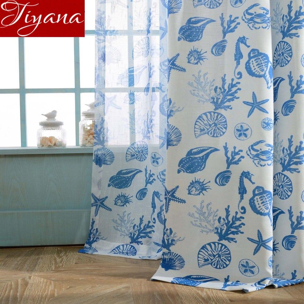 Vorhang Für Wohnzimmer Meer Tier Muster Blau Cartoon Fenster Schlafzimmer  Behandlung Schiere Stoffe Leinen Vorhang Tüll X355 #30