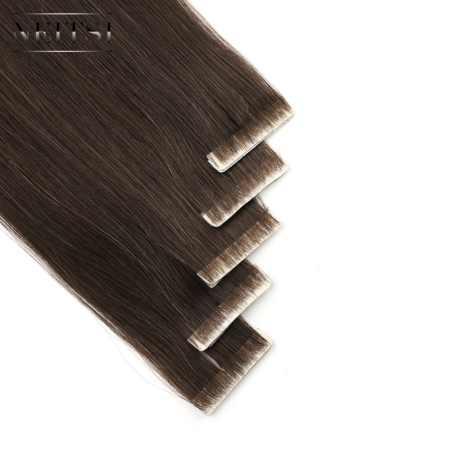 Neitsi Straight PU Skin Weft Hand Tied Tape In Adhesives Remy Human Hair Extensions 24 2.5g/pc 20pcs/pack FedEx Fast Shipping