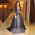 Fares myriam Celebrity Dresses 2016 Longo Preto E Branco Vestidos de Baile Do Vintage Capa Elegante Dubai Vestidos de Noite Robe De Soirée