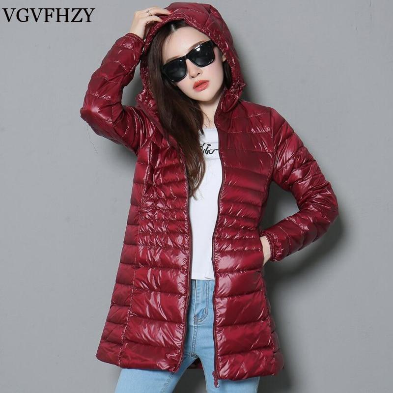 spring jacket Woman Outerwear Slim Hooded Down Jacket Womans Warm Down Coat Women Ultra Light Jackets White Duck Down Parkas