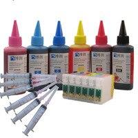 Sublimação de tinta de cor + T0791 6 T0796 79 cartucho de tinta para Epson Stylus Photo 1400 1500 W P50 Artesão 1430 PX650 PX660 PX660|Cartuchos de tinta| |  -