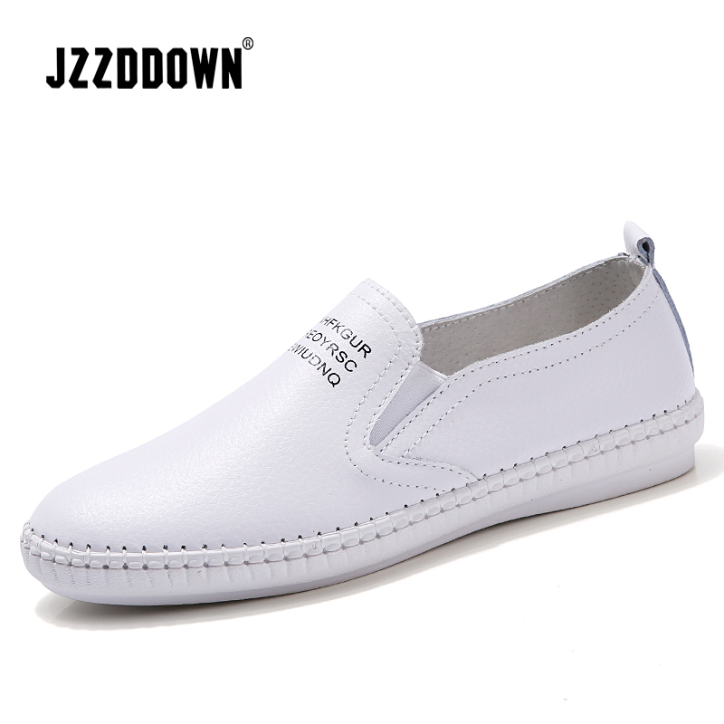 Women flats ballet shoes 2018 Spring ladies white sneakers Canvas Vulcanize casual Boat shoe Genuine   leather   slip on loafers