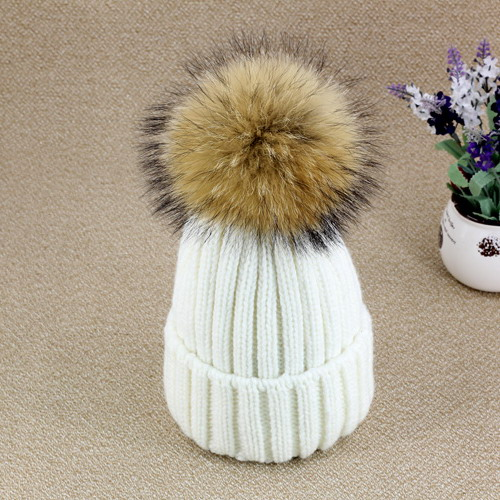 f27cfb5fe2b Wholesale Women Autumn Winter Hat Female Hat Elasticity Real Raccoon Fur  Pom Pom Fashion Hat Black. Mouse over to zoom in