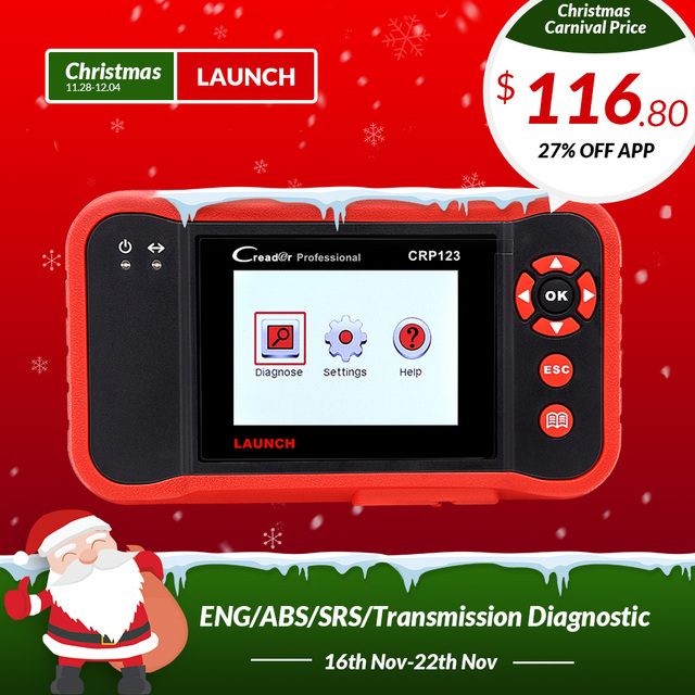 New Price LAUNCH Creader CRP123 Support Engine/ABS/SRS/Transmission Automotive Code Reader Car diagnostic tool CRP 123 Scanner free update