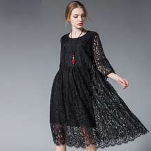 2017 designer spring summer women floral lace dresses plus size 4XL hollow lace pregnant women's pleated long dress black red