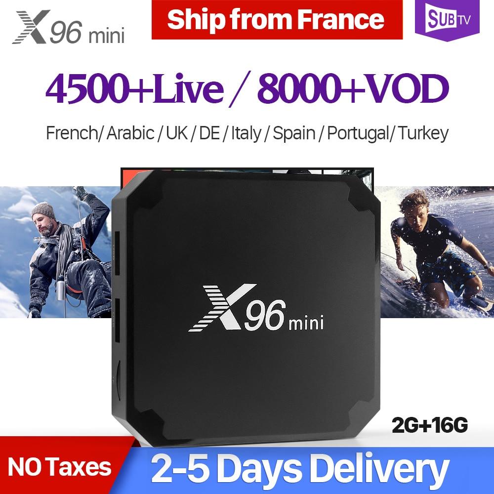 X96 mini Smart France IPTV Box Android 7.1 2GB 16GB S905W 4K H.265 X96mini Set Top Box 1 Year SUBTV Arabic Belgium French IPTV french iptv x96mini 4k android 7 1 smart tv box with 1600 channels french belgium morocoo arabic iptv amlogic s905w set top box