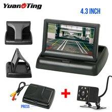 YuanTing 4,3 ''автомобильный монитор заднего вида, светодиодный, водонепроницаемый, автомобильная парковочная система, Автомобильная камера заднего вида HD