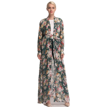 Arab Women Clothing Female Floral Cardigan Kaftan Muslim Chiffon Caftan Dresses With Scarf