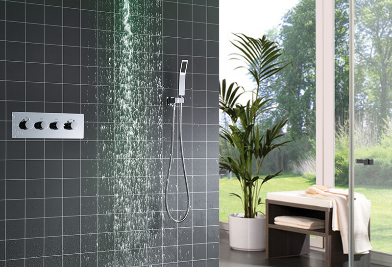 hm Shower System Double Waterfall Rainfall Large Ceiling LED Rain Shower Head Recessed Automatic Color Change Thermostatic Tap (11)