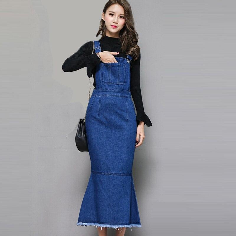c164cfd1dc4 2018 High Quality Slim Sweet Jeans Dress Women Washed Ankle Length  Suspender Denim Sundress Denim Overall