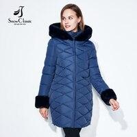 SnowClassic Mùa Đông Phụ Nữ Áo Khoác Phụ Nữ Parka Dài Ấm Chất Lượng Cao cổ áo/tay áo Mùa Đông Ngắn Gọn Coat Với Hood 2017New mùa đông